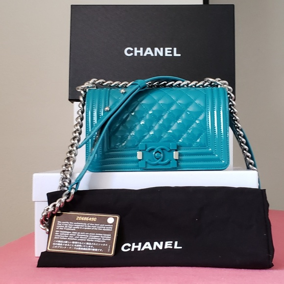 7f59815d4aea CHANEL Bags | Turquoise Small Patent Leather Bag | Poshmark